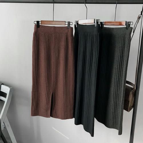 (現貨)簡約開衩針織長裙M-L-2色【ZA9079】Minuet