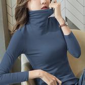 打底衫女生 高領長袖T恤 半高領緊身洋氣純棉保暖加絨上衣女 S-3XL 9色