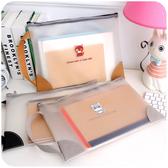 手提A4透明拉錬文件袋韓國學生塑料檔案小清新作業收納資料包文具