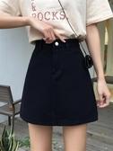 夏季復古半身裙港味牛仔裙A字裙黑色高腰裙子小眾設計女裝短裙潮 降價兩天