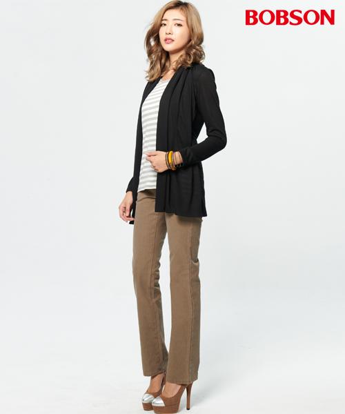 BOBSON 女款條紋羊絨假兩件式罩衫  (37074-88)