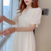 [促銷全場八五折]新款裙子女流行蕾絲拼接網紗中長款V領收腰顯瘦短袖連衣裙夏