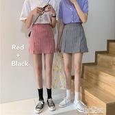夏季復古一步開叉格子短裙高腰顯瘦A字包臀半身裙女學生