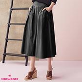 【SHOWCASE】前打褶寬腰帶麻感寬襬七分寬裙(鐵灰)