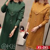 荷葉大V型設計針織長袖洋裝 XL-3XL O-ker歐珂兒 156307
