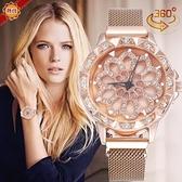 手錶 網紅抖音爆款創意時來運轉女士磁鐵扣米蘭帶石英手腕手錶女款 年終大酬賓