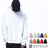 高規落肩重磅刷毛帽T【Y0497】OBIYUAN 寬版連帽素面長袖上衣 共16色