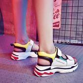 涼鞋女  涼鞋新款女夏季老爹厚底韓版百搭運動學生網紅平底超火的鞋子·夏茉生活