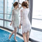 洋裝 長袖蕾絲連身裙圓領收腰大擺包臀裙小禮服8031GT2F-261-B快時尚