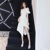 尾牙宴會晚禮服裙女2018新款高貴白色顯瘦名媛短款派對年會洋裝小禮服