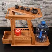 可行動竹茶車簡約現代茶盤家用茶臺家用小茶臺實木全自動客廳小號wl6382[黑色妹妹]