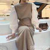 針織洋裝韓國chic簡約百搭圓領撞色綁帶收腰拼接假兩件針織燈籠袖連身裙女 嬡孕哺