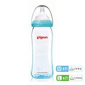貝親 矽膠護層寬口母乳實感玻璃奶瓶 240ml/藍 (M/L)