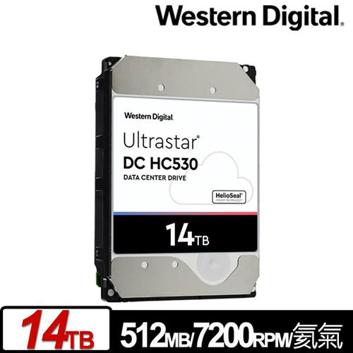 WD Ultrastar DC HC530 14TB 企業級 氦氣封裝硬碟 (WUH721414ALE6L4/0F31284)