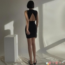 露背洋裝超愛款卡戴珊性感露背無袖修身包臀連身裙收腰顯身材黑色小短裙夏 愛丫 免運