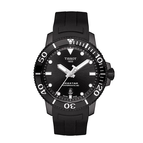 ◆TISSOT◆  新款配色熱賣中  SEASTAR陶瓷錶圈300米矽膠錶帶潛水錶 POWERMATIC 80T120.407.37.051.00