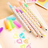 【BlueCat】螢光擦擦筆 閃亮方鑽水玉點點雙頭可擦螢光筆