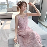 洋裝粉色吊帶連身裙夏新款氣質女神范初戀露肩收腰顯瘦流行甜美初戀 快速出貨
