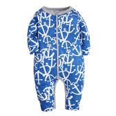 男Baby男童薄款長袖連身衣藍色海錨印花單層純棉連身衣- 歐美品質
