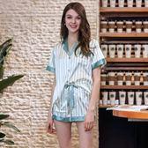 2018新款仿真絲睡衣 女士短袖短褲兩件套家居服《小師妹》yf718