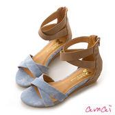 amai交叉線條小坡跟涼鞋 藍