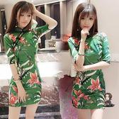 旗袍 2019春季新款韓版時尚氣質百搭修身顯瘦花色包臀開叉旗袍洋裝女 S-M