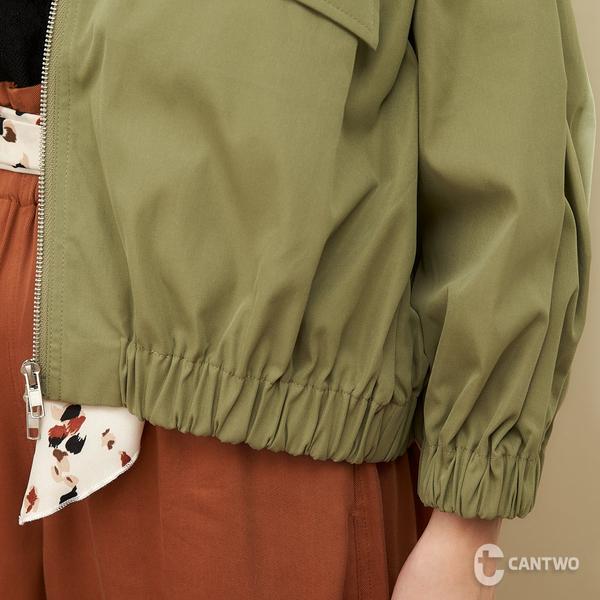 CANTWO小V領抓皺造型外套-共兩色