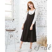 【ef-de】激安 細肩帶復古素色吊帶褲裙(黑/深灰)