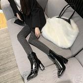 高跟靴瘦瘦靴子2020新款女高跟短靴女粗跟馬丁靴女英倫風時尚秋冬季單靴 町目家
