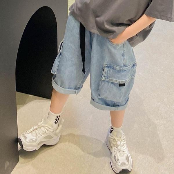 男童牛仔短褲2021年新款洋氣兒童褲子七分褲寬鬆中大童夏裝工裝褲 科炫數位