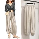 waitmore褲子女夏垂感冰絲束腳燈籠褲寬鬆薄款緞面皺感涼涼闊腿褲