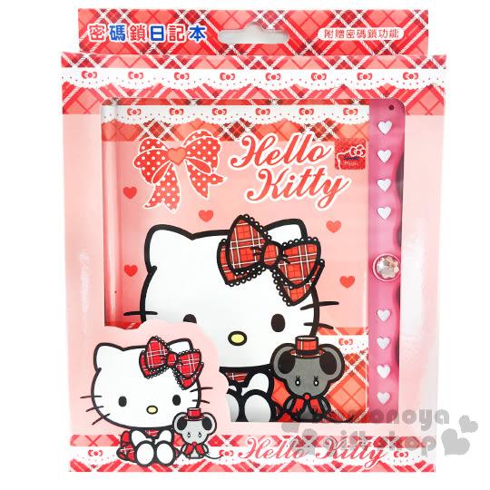 〔小禮堂〕Hello Kitty 造型密碼鎖日記本《紅粉.坐姿.格紋.老鼠》別緻硬厚殼封面 4713791-96316