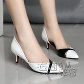 夏新款女皮鞋真皮高跟鞋細跟涼鞋女時尚中跟女單鞋 衣櫥秘密