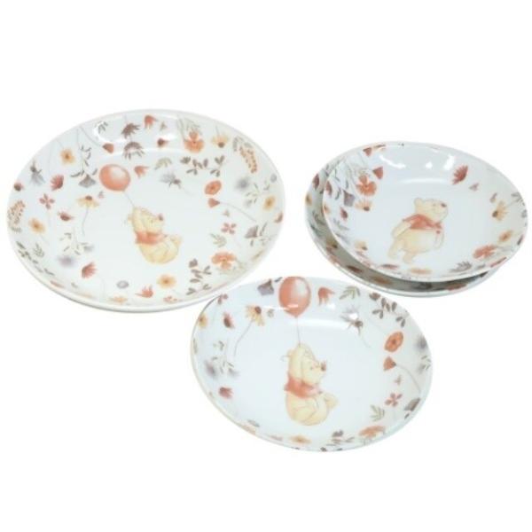 小禮堂 迪士尼 小熊維尼 日本製 造型陶瓷盤4入組 (白花草款) 4959079-29087