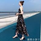 夏裝2021新款碎花雪紡洋裝法式吊帶裙長裙修身顯高顯瘦氣質裙子 蘿莉新品