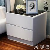 床頭櫃玻璃面烤漆床頭柜 簡約現代儲物柜 臥室床邊柜白色收納 整裝·樂享生活館liv
