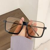 墨鏡 素顏超大框防藍光復古眼鏡ins下半框方形凹造型太陽鏡女街拍墨鏡