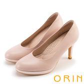 限時特賣-ORIN 簡約時尚名媛 嚴選牛皮經典素面高跟鞋-粉紅