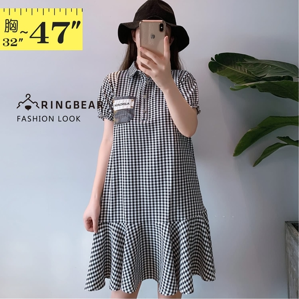 連身裙--襯衫領泡泡袖英字貼布繡波浪裙襬黑白格紋短袖洋裝(黑L-3L)-D532眼圈熊中大尺碼◎