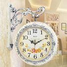 掛鐘雙面掛鐘客廳鐘錶掛錶靜音時鐘歐式創意現代兩面石英雙面鐘錶xw
