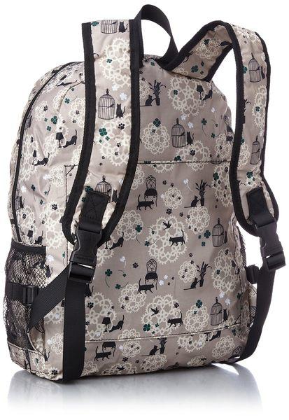 HAPI+TAS 摺疊後背包 - 米色貓咪蕾絲