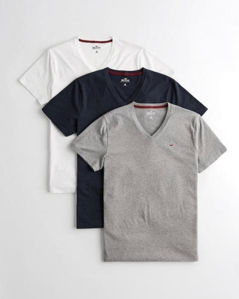 【迦南園】Hollister Must-Have V Neck T-Shirt 男海鷗 素面V領 男款 素T三件組
