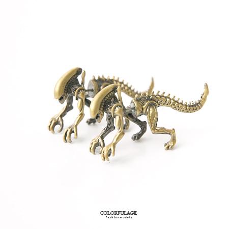 耳環 小誇張大趣味 精緻仿真立體恐龍穿式耳針 個性造型配件【ND274】中性款式