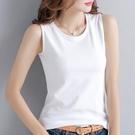 無袖T恤 100%純棉無袖t恤 女2021夏季新款簡約純色圓領外穿吊帶背心上衣