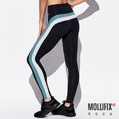 Mollifix 瑪莉菲絲 側邊撞色拼接全長褲 (黑+綠)