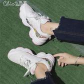 運動鞋 跑步鞋韓版原宿休閒女學生bf風百搭平底鬆糕鞋女「Chic七色堇」