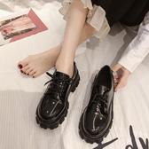 皮鞋女 配裙子小皮鞋女英倫2019新款百搭厚底高跟復古黑色工作鞋春秋單鞋【快速出貨】