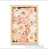 永生花 玫瑰康乃馨保鮮花透明玻璃蓋禮盒紀念日七夕情人節禮物 coco衣巷