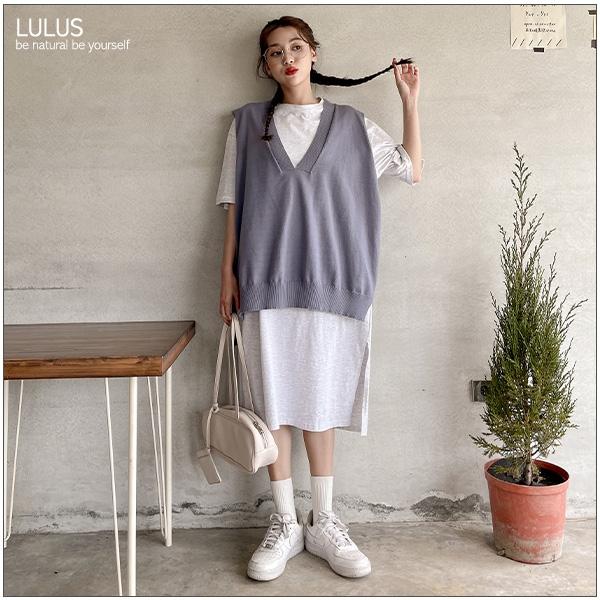 LULUS【A03210002】Y自訂款V領長版針織背心5色