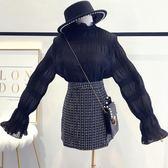 秋裝新款時尚超仙chic氣質木耳領女韓范百搭壓褶雪紡衫上衣潮 生活樂事管